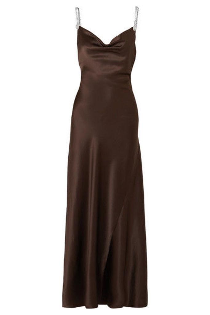 Alessandra Rich - Crystal-embellished Silk-satin Gown - Dark brown