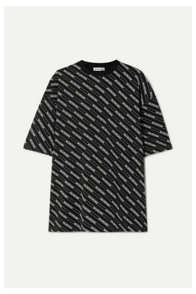 Balenciaga - Oversized Printed Cotton-jersey T-shirt - Black