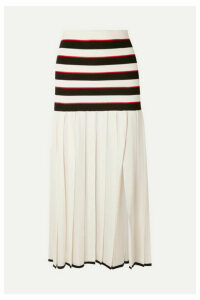 Sonia Rykiel - Pleated Striped Cupro Skirt - White