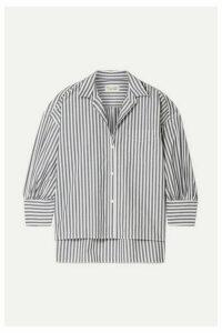 Nili Lotan - Lonnie Striped Cotton-poplin Shirt - Navy