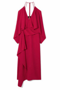 Roland Mouret - Vincent Cold-shoulder Draped Crepe Midi Dress - Red