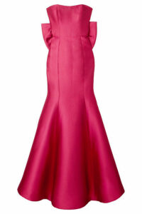 Marchesa Notte - Strapless Bow-embellished Mikado-piqué Gown - Fuchsia