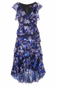 Marchesa Notte - Tiered Floral-print Fil Coupé Chiffon Midi Dress - Navy