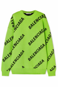 Balenciaga - Oversized Intarsia Cotton-blend Sweater - Green