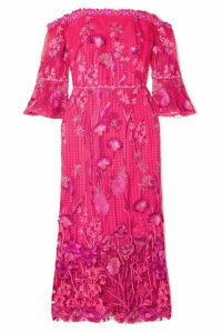 Marchesa Notte - Off-the-shoulder Guipure Lace Dress - Fuchsia