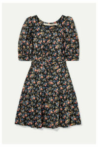 Anna Mason - Poppy Belted Floral-print Cotton-poplin Mini Dress - Black