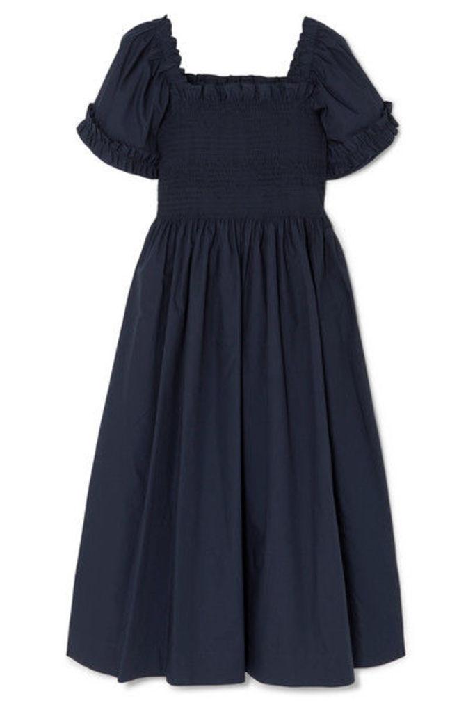 Molly Goddard - Adelaide Shirred Cotton Dress - Navy