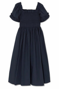 Molly Goddard - Adelaide Shirred Cotton Dress - Navy