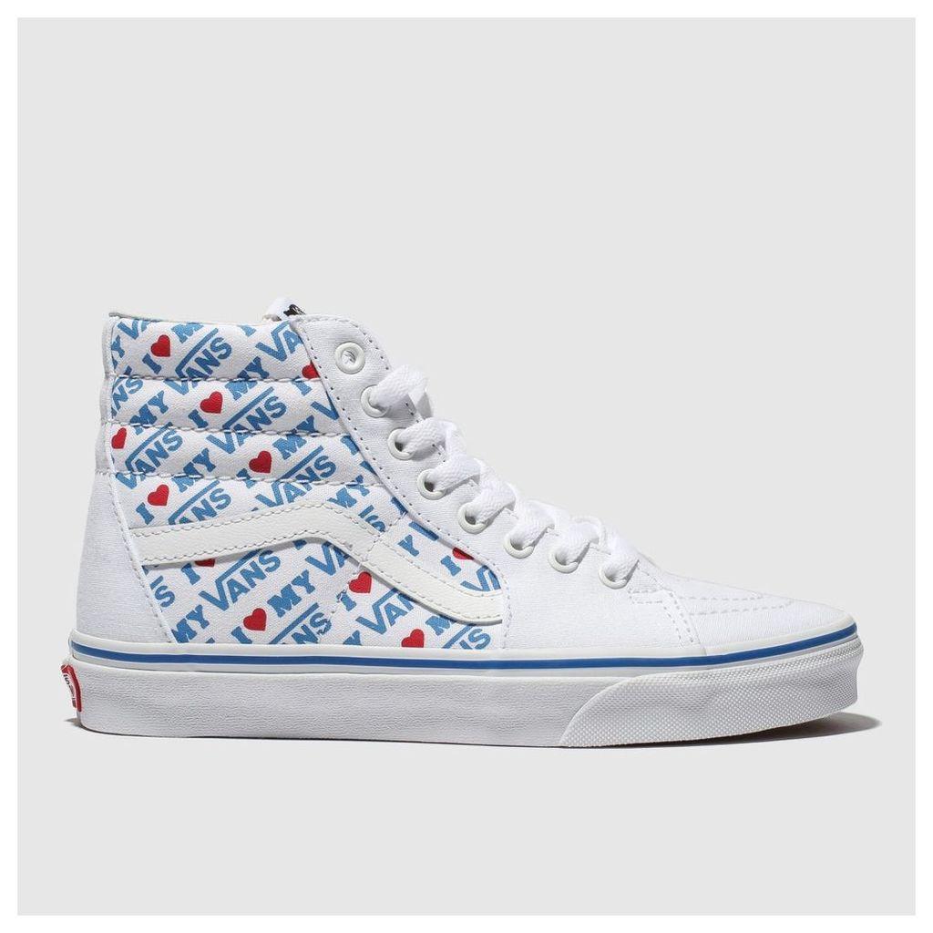 Vans White & Blue Sk8-hi I Heart Vans Trainers