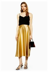 Womens Satin Full Circle Midi Skirt - Gold, Gold