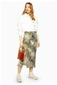 Womens Zebra Print Satin Bias Midi Skirt - Khaki, Khaki