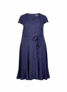 Womens **Billie & Blossom Curve Navy Ladybird Dress- Blue, Blue