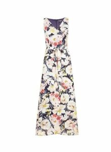 Womens **Billie & Blossom Rose Floral Print Wrap Hem Maxi Dress- Blue, Blue
