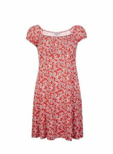 Womens Petite Red Ditsy Print Dress- Red, Red