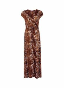 Womens Petite Brown Animal Print Maxi Dress- Brown, Brown