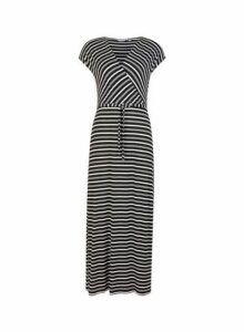 Womens Petite Black Striped Maxi Dress- Black, Black
