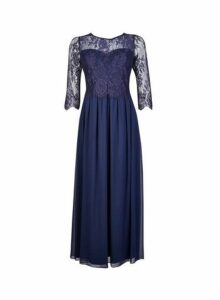 Womens **Showcase Petite Navy 'Rosaline' Maxi Dress- Blue, Blue