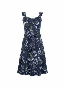 Womens Navy Ruffle Tie Fit And Flare Dress- Blue, Blue