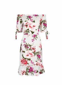 Womens **Billie & Blossom Grey Floral Print Bardot Dress- Grey, Grey
