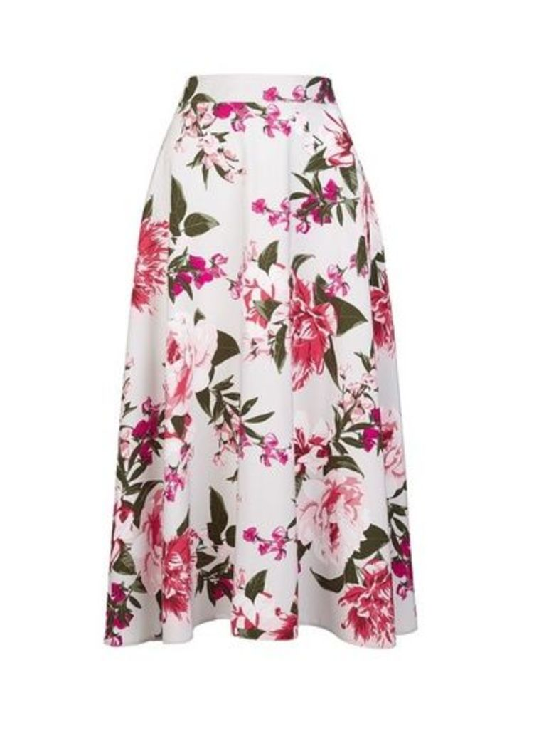 Womens **Billie & Blossom Grey Floral Print Skirt- Grey, Grey