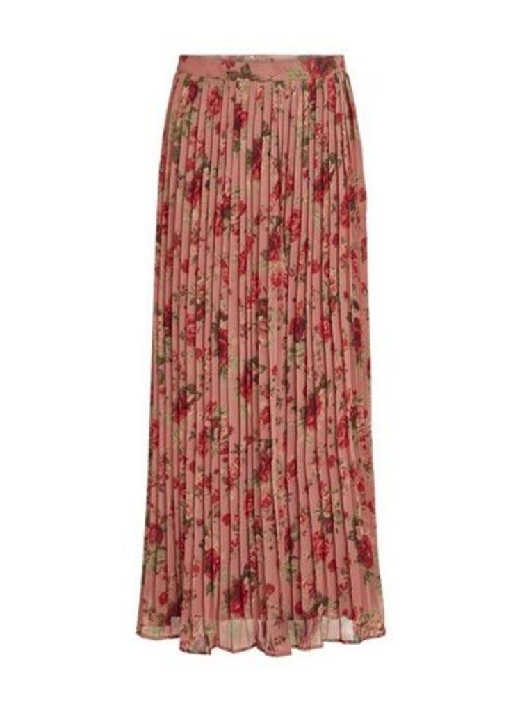 Womens **Vila Multi Colour Satin Maxi Skirt- Multi Colour, Multi Colour