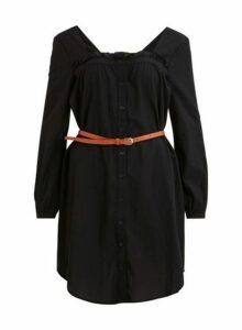 Womens **Vila Black Long Sleeve Dress- Black, Black