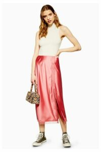 Womens Lace Trim Bias Midi Skirt - Rose, Rose