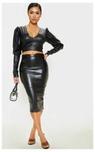 Petite Black Faux Leather Panel Midi Skirt, Black