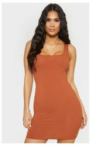 Tan Ribbed Cup Detail Sleeveless Bodycon Dress, Brown