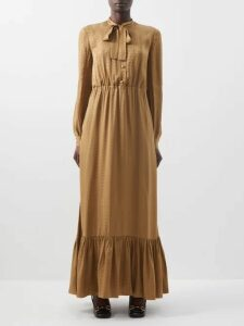 Mes Demoiselles - Gregale Embroidered Cotton Voile Midi Dress - Womens - Black Navy