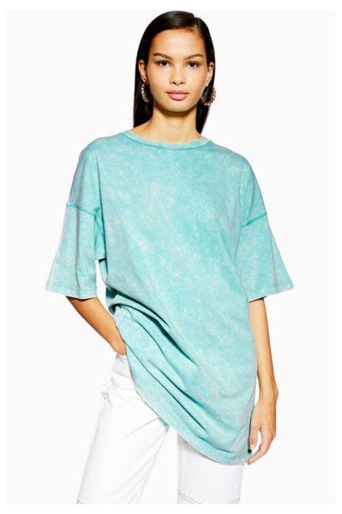 Womens Acid Wash Oversized T-Shirt - Green, Green