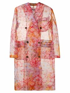 MSGM double breasted floral coat - Pink