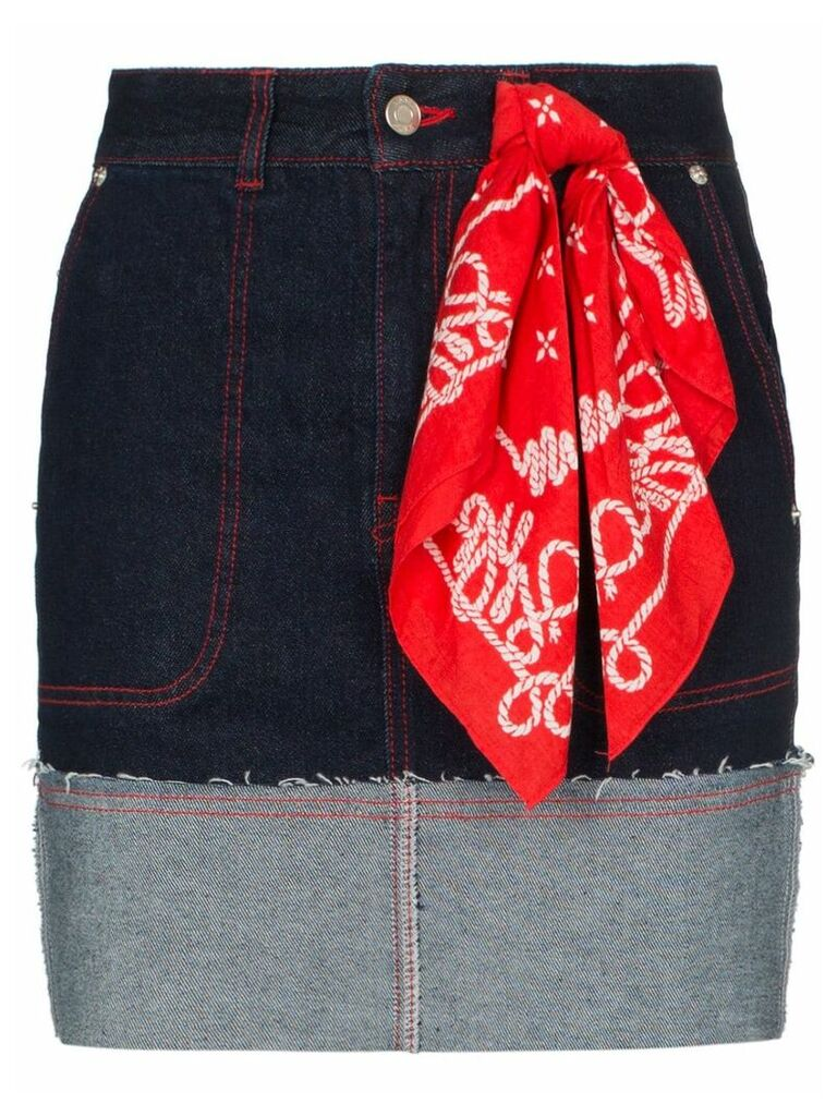 SJYP scarf-detail denim skirt - Blue