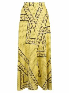Ganni asymmetric print midi skirt - Yellow