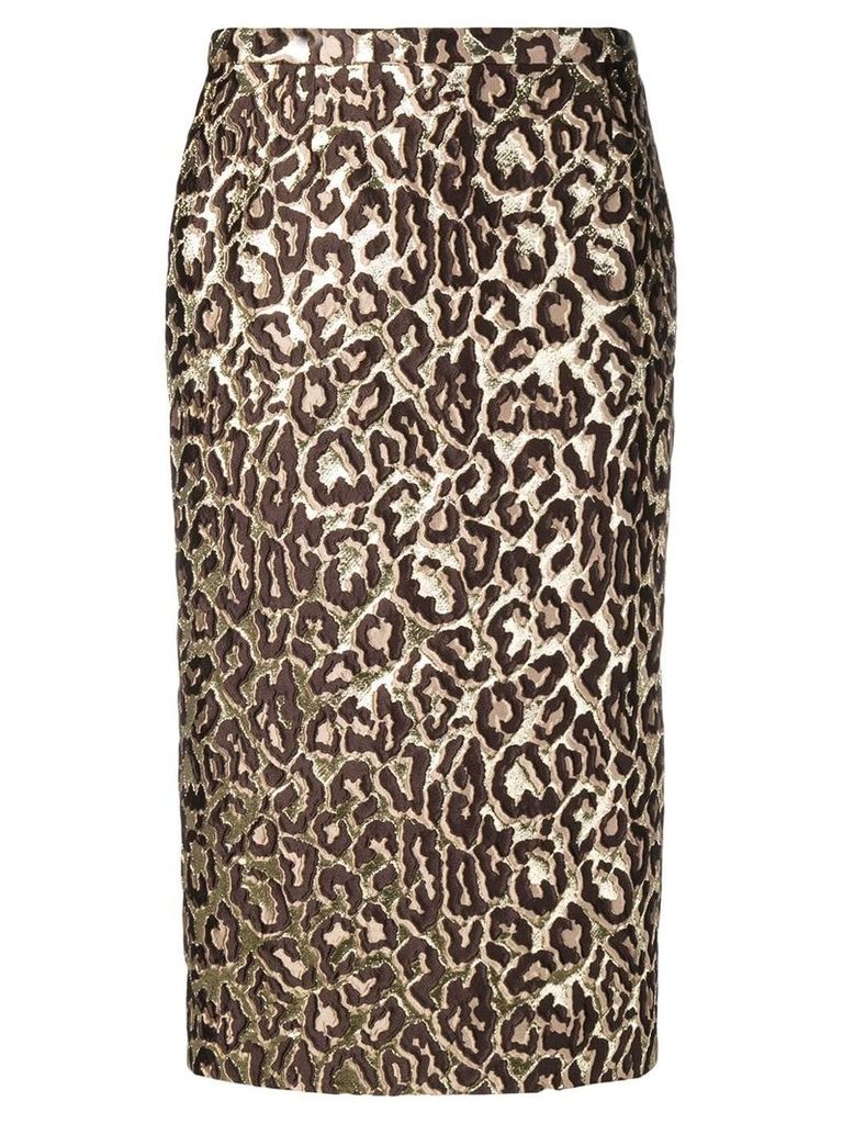 Rochas leopard print embroidered skirt - Brown