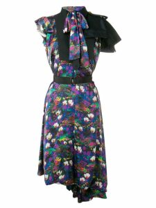 Sacai printed asymmetric dress - Black