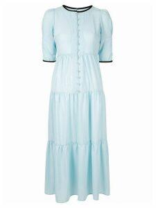 Tu es mon TRÉSOR flower button satin tiered dress - Blue