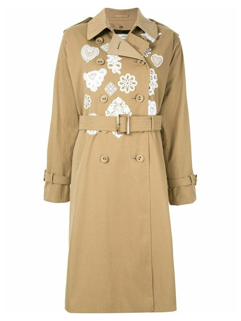 Tu es mon TRÉSOR embroidered detail trench coat - Green