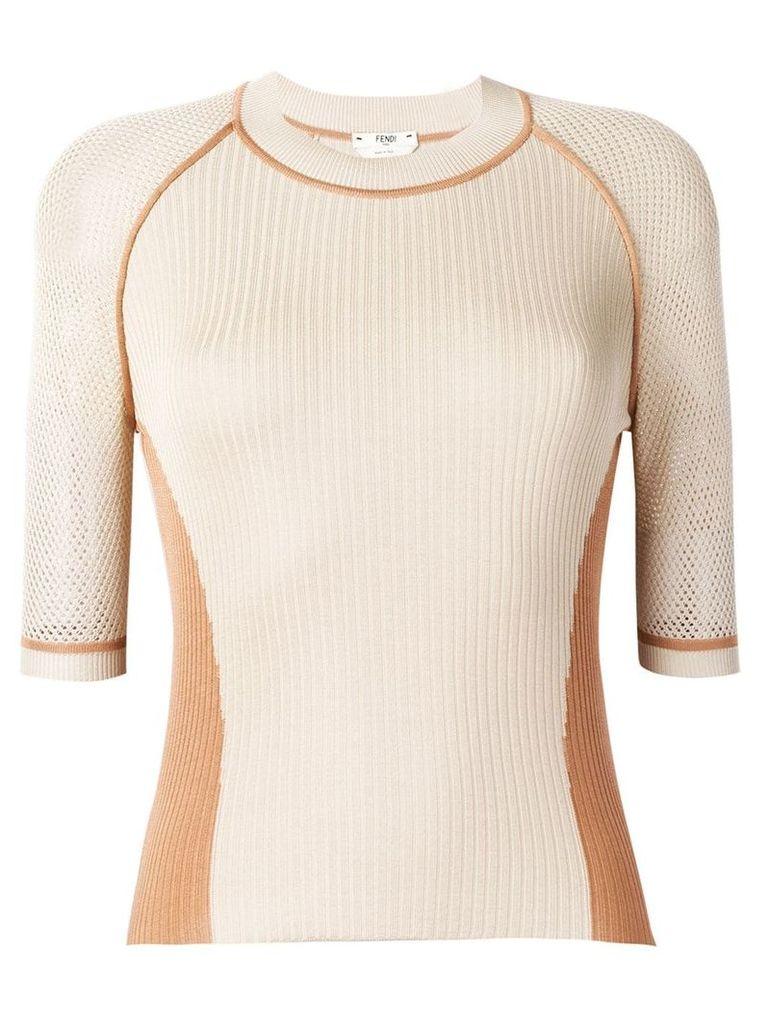 Fendi contrast detail knitted top - F16em
