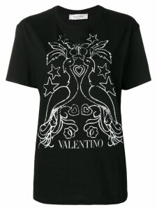 Valentino peacock print T-shirt - Black