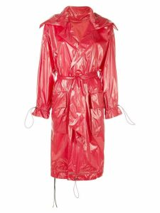 Unravel Project shiny oversized trench coat - Red
