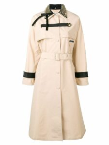 Prada studded collar trench coat - Neutrals