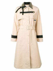Prada studded collar trench coat - Neutrals