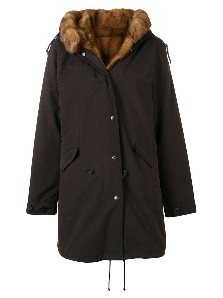 Liska hooded zip-up coat - Black