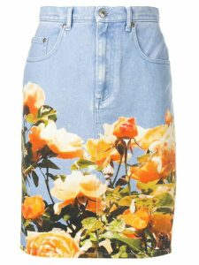 MSGM floral print denim skirt - Blue