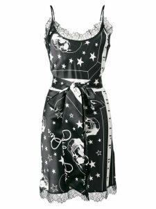 Philipp Plein skull print belted slip dress - Black