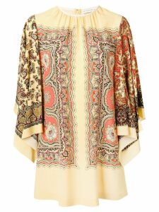 Etro gathered scarf print shift dress - Yellow