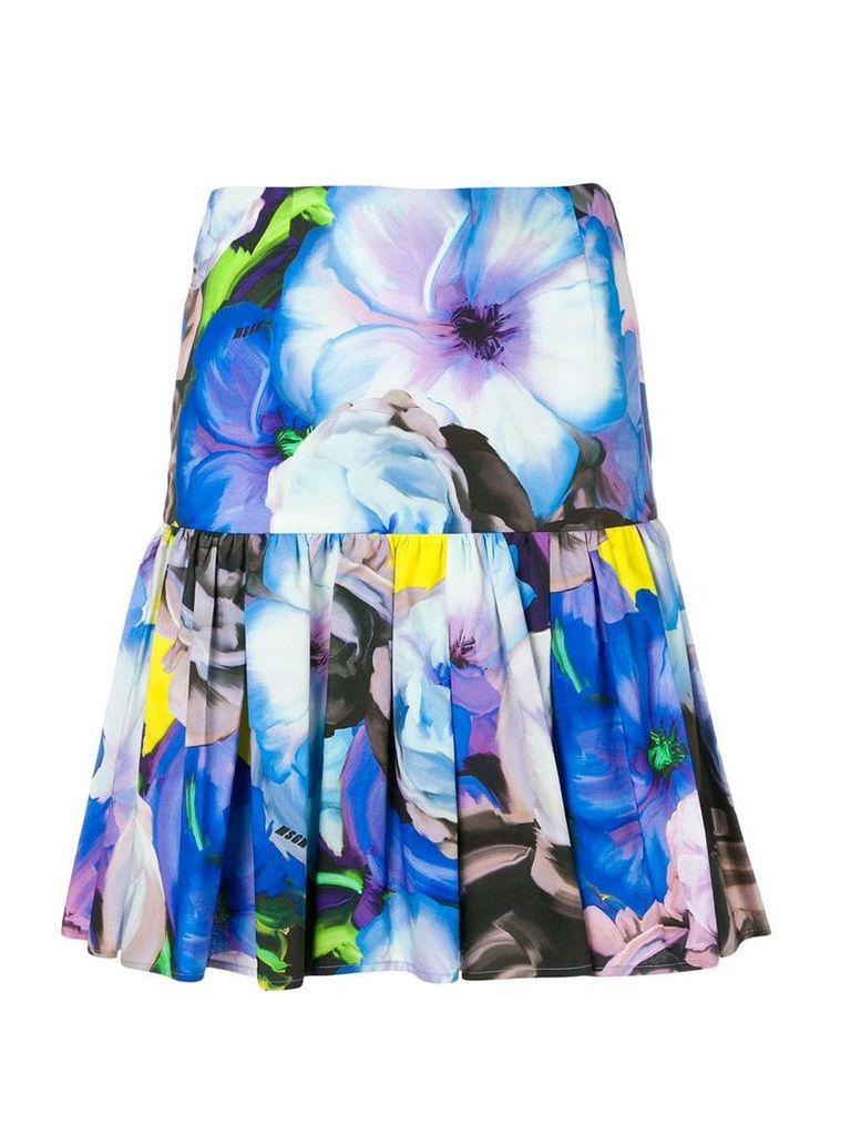 MSGM floral print pleated skirt - Blue