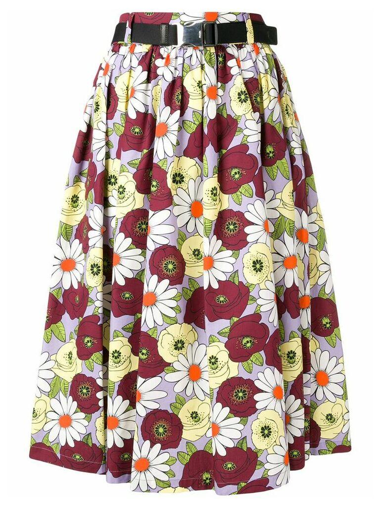 Prada full floral skirt - Red