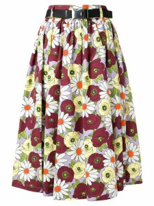 Prada full floral skirt - Red